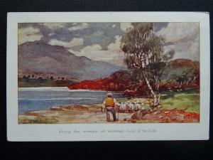 Scotland Shepherd on the Margin of LOCH ACHRAY Lady of the Lake c1908 Postcard