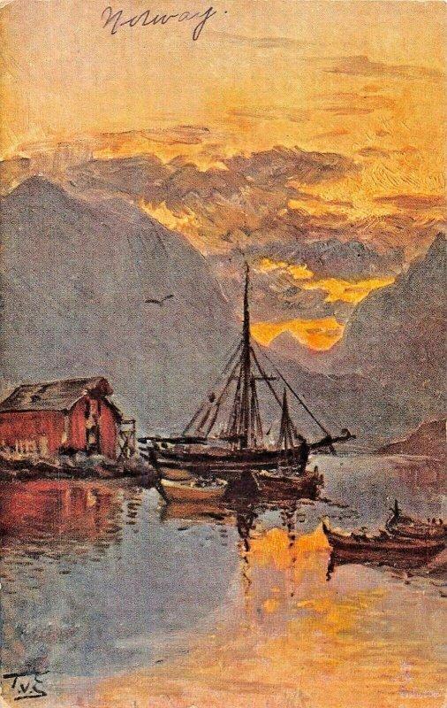 MIDNIGHT AT RAFTSUND NORWAY~TUCK WORLD WIDE VIEW-NORWAY SERIES II POSTCARD