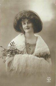 Postcard Women fancy hat early fashion costume elegance trend smile Christmas