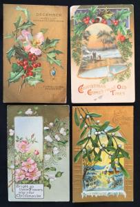 Postcard (4) Unused Christmas Holly/Flowers/Mistletoe LB