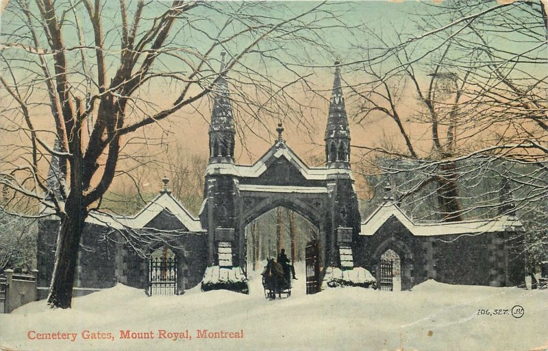 Postcard Canada Cemetery gates mount royal montreal towers cart sleigh horse