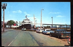 USA Postcard The Soo Locks Sault Ste. Marie Michigan Portage Ave. & 1950s Cars