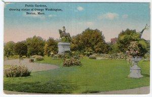 Boston, Mass, Public Gardens, showing statue of George Washington