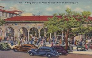 Florida Saint Petersburg A Busy Day At The Open Air Post Office 1952