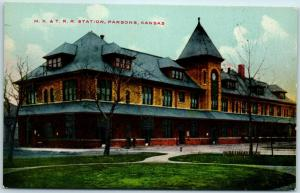 Parsons, Kansas Postcard MK&T Railroad Station KATY Depot View c1910s UNUSED