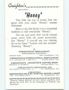 Unused Pre-1980 HONEY STORY AT CREIGHTON'S RESTAURANT Ft. Lauderdale FL v7600