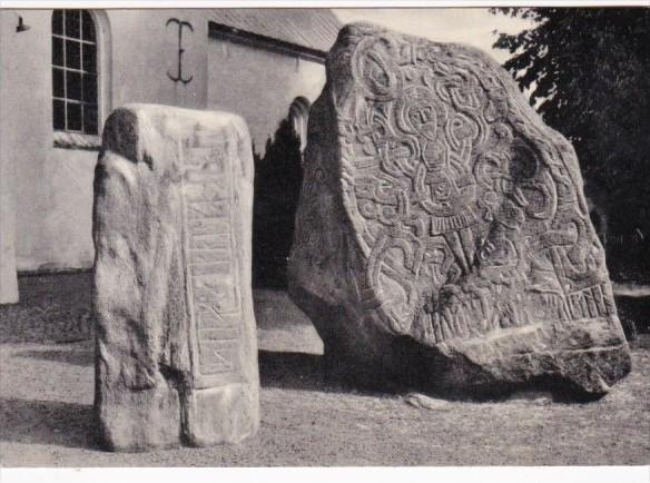 Denmark Jelling The Runic Stone With The Picture Of Christ