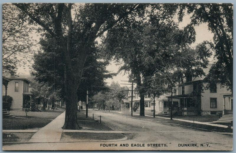 DUNKIRK NY FOURTH & EAGLE STREETS ANTIQUE POSTCARD