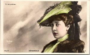 VINTAGE -  French Theater Music Hall OLGA NETHERSOLE photo COLOR postcard