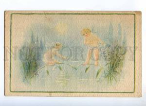 234556 FANTASY Little ELF Fairy Vintage ALPHA postcard