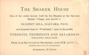 Shaker Non Postcards Old Vintage Antique Non Post Cards The Shaker House, Adm...