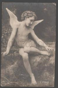 101207 Nude Winged CUPID Angel Vintage PC