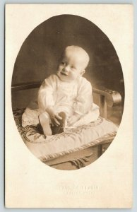 RPPC 5 Month-Old Elton J Foote Show Off His New Shoes~Son of Charles~Oval~c1910