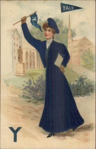 Yale University College Pennant Girl WOVEN SILK c1910 Postcard jrf