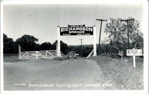 RPPC  RICHARDSON SPRINGS, CA  ENTRANCE & Highway Signs c1940s Roadside  Postcard