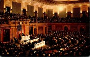 Vtg US Congress Joint Session Hall Of Representatives Washington DC Postcard