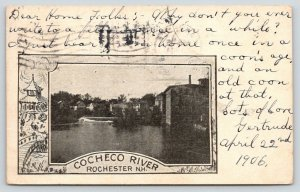 Rochester New Hampshire~Cocheco River~Houses Along Shore~1906 B&W Postcard