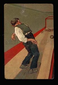 010059 BOWLING Drunk Man Vintage embossed PFB Publ. 8372 PC