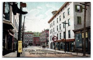 Early 1900s Lower Broadway showing Mansion House, Kingston, NY Postcard