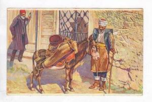 Old Man Patting A Donkey-Preparing To Leave, 1900-1910s