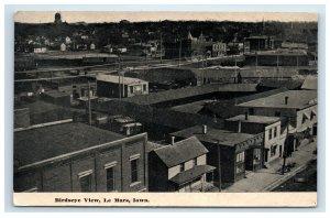 1912 Le Mars Iowa Birdseye Aerial View Postcard Town Buildings