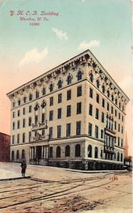Wheeling West Virginia~YMCA Building & Street Scene~Man on Corner~1913 Postcard