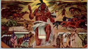 1940s FORT WARREN Wyoming Postcard Indian Of the Plains Mural in Service Club