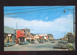 PORT AUSTIN MICHIGAN DOWNTOWN STREET SCENE 1960's CARS VINTAGE POSTCARD