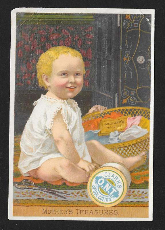 VICTORIAN TRADE CARD Clark's ONT Thread Baby w/Basket