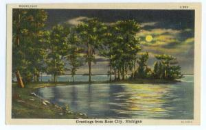 Linen Moonlight Scenic View Greetings from Rose City MI