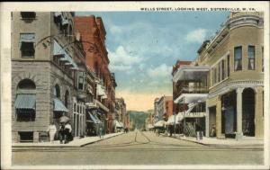 Sisterville WV Wells Street c1920 Postcard