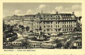 romania, BUCHAREST BUCURESTI, Piața Ion Brătianu, Trams, Monument (1930s)