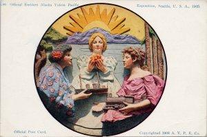 AYPE Emblem Three Women Exposition 1909 Seattle WA Unused Postcard G55