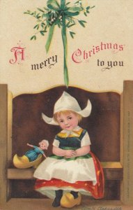 Ellen CLAPSADDLE: CHRISTMAS , Dutch girl on bench , 00-10s