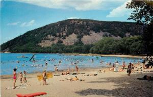 Baraboo WI~South Shore Beach~Sunbathers~Slide~Inflatable Raft~Swimmers~1950s