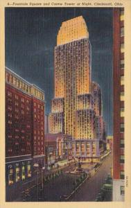 Ohio Cincinnati Fountain Square & Carew Tower At Night Curteich