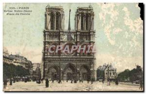 Paris - 4 - Notre Dame - Place du Parvis - Old Postcard