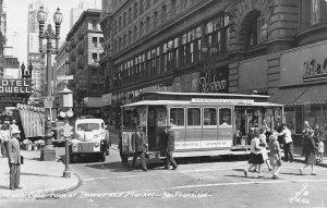 RPPC Cable Car SAN FRANCISCO Powell & Market Street Scene 1940s Vintage Postcard