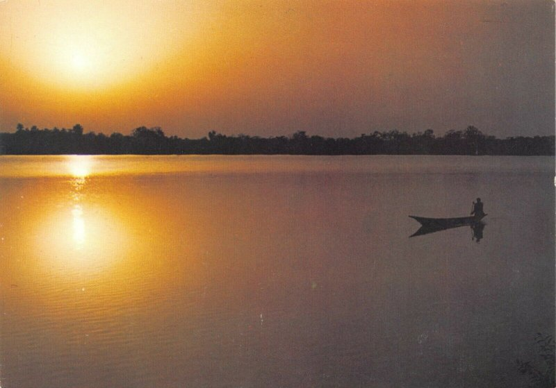 Vintage Postcard, Sunset over The Gambia River, Africa 91W