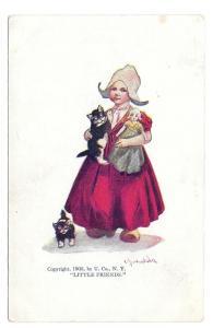 Bernhardt Wall Little Friends Dutch Girl Doll Kitten Postcar