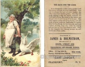 James & Holmstrom, Pianos, Frankfort, NY USA Trade Card Approx Size Inches = ...