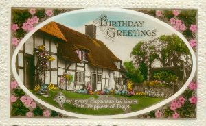 Postcard Greetings flowers house birthday
