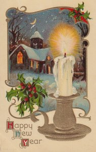 NEW YEAR, PU-1910; Winter Scene, Holly, Lit Candle in Gold Candleholder