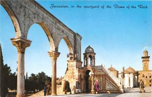 Israel Old Vintage Antique Post Card Jerusalem Courtyard of the Dome of the R...