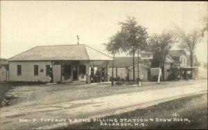 Delanson NY Wm F Tiffany & Sons Gas Station Soconoy c1915 Real Photo Postcard