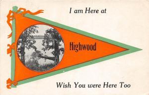 <A2> Michigan Mi PENNANT Postcard 1913 HIGHWOOD Wish You Were Here