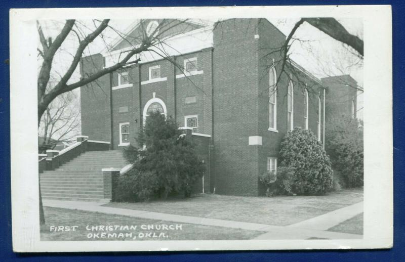 Okeman Oklahoma ok First Christian Church real photo postcard RPPC