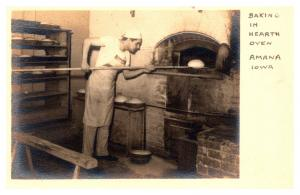 Iowa Amana , Baker placing bread in Hearth Oven