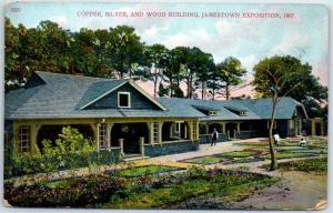 1907 JAMESTOWN EXPOSITION Postcard Copper, Silver & Wood Building Unused