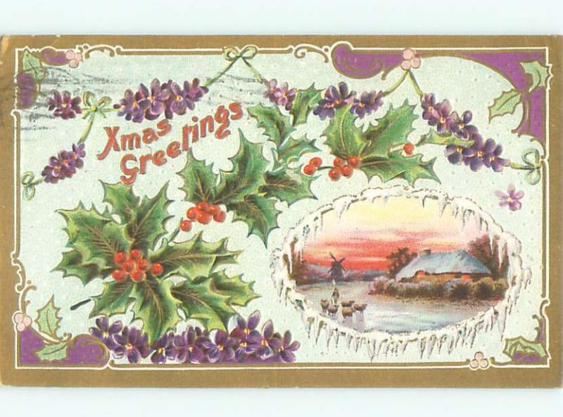 Divided-Back CHRISTMAS SCENE Great Postcard W9301